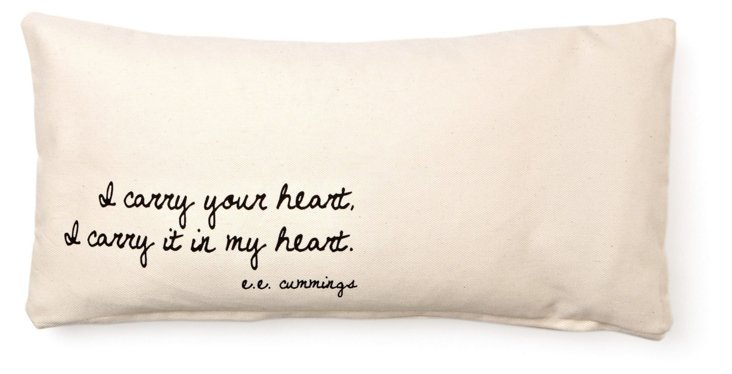 "Cummings ""Heart"" 10x20 Pillow, Ivory"