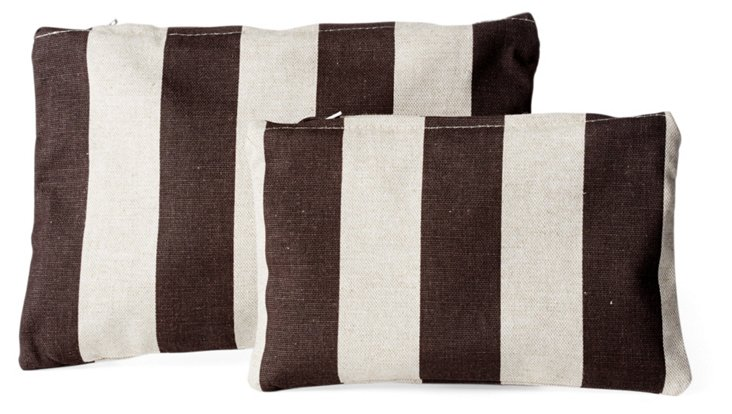 S/2 Stripe Travel Pouches, Brown/Natural