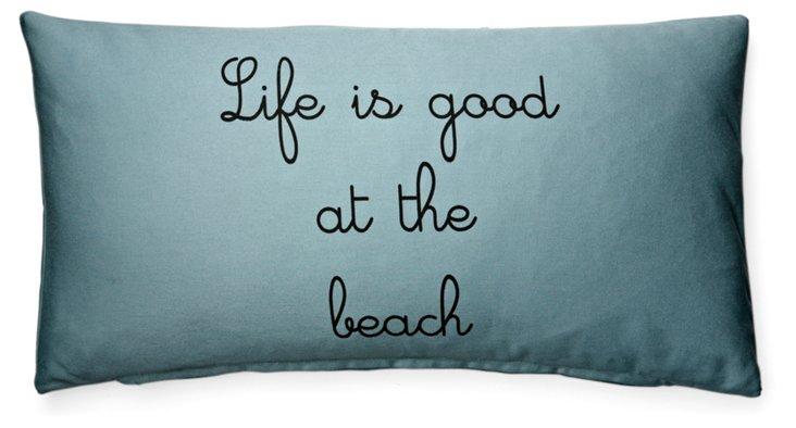 At the Beach 12x24 Pillow, Blue