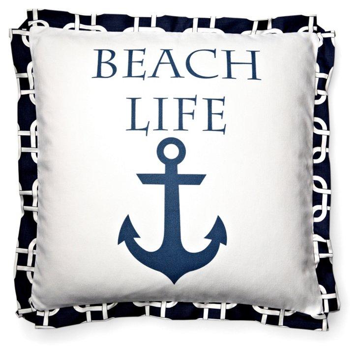 Beach Life 20x20 Cotton Pillow, Navy