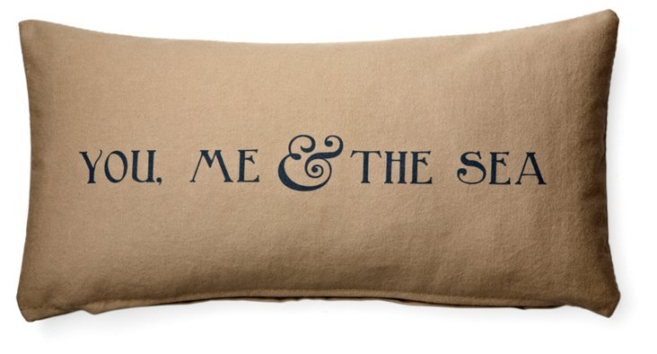 The Sea 10x20 Cotton Pillow, Taupe