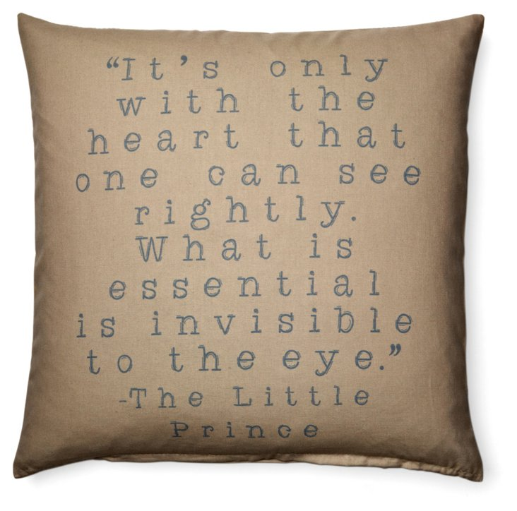 "Prince ""Heart"" 20x20 Pillow, Brown"