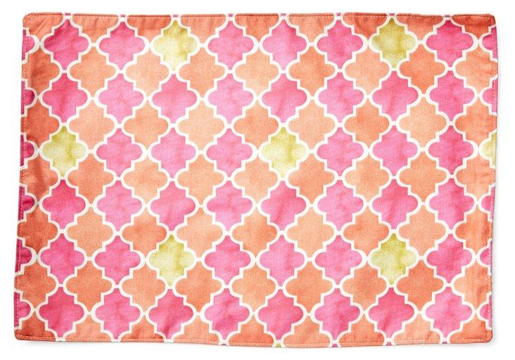 S/4 Ikat Place Mats, Pink/Orange