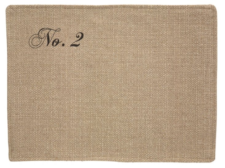 S/6 Asst. Numbered Place Mats, Natural