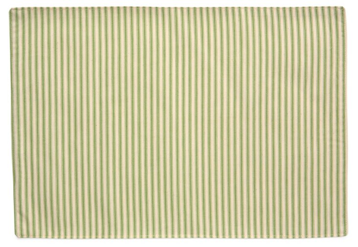 S/4 Striped Place Mats, Green