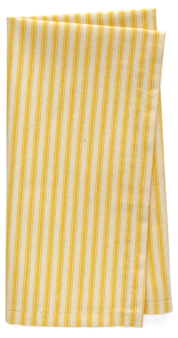 S/4 Striped Dinner Napkins, Yellow