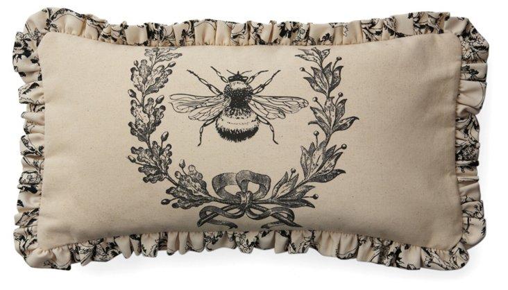 Bee Wreath 10x20 Cotton Pillow, Natural