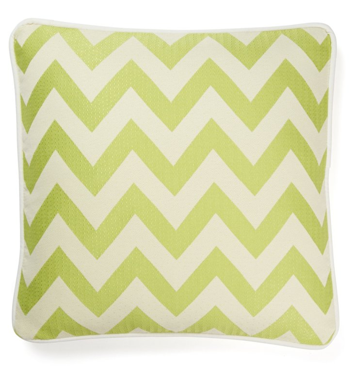 Chevron 20x20 Cotton Pillow, Green
