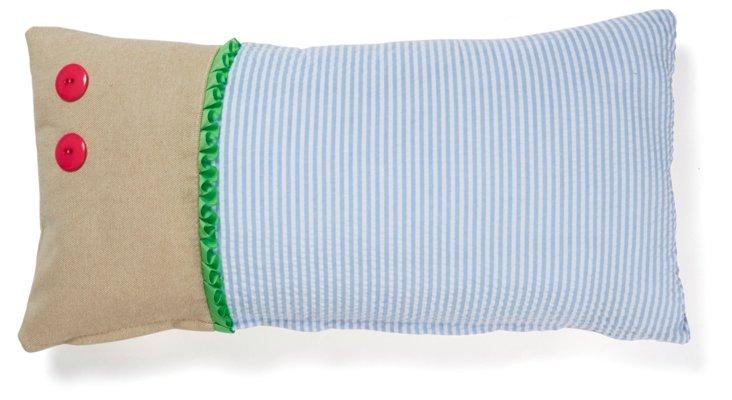 3-Part 10x20 Cotton Pillow, Blue