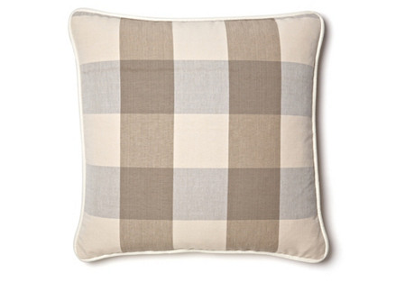 Buffalo Plaid 20x20 Cotton Pillow, Taupe