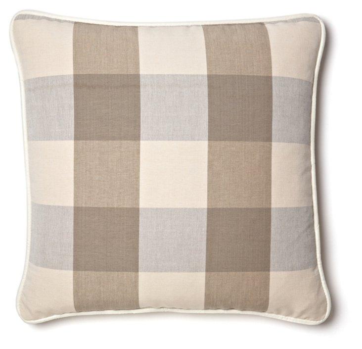 Buffalo Plaid 20x20 Cotton Pillow, Taupe