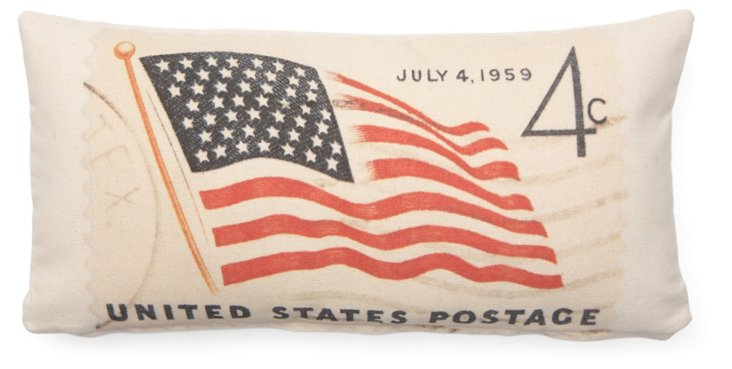 Flag Postage 10x20 Cotton Pillow, Red