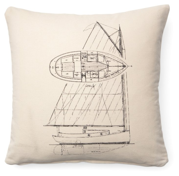 Boat Sketch 20x20 Cotton Pillow, Natural