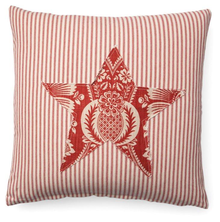 Ticking Star 20x20 Cotton Pillow, Red
