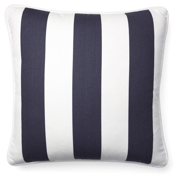 Stripe 20x20 Cotton Pillow, Navy