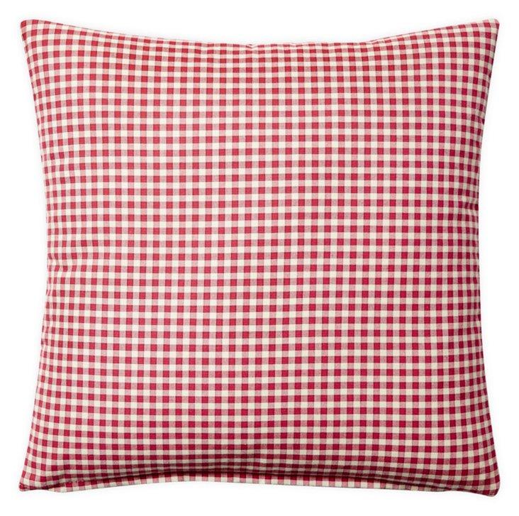 Mini Check 20x20 Cotton Pillow, Red