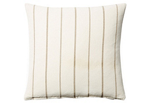 Striped 20x20 Cotton Pillow, Cream