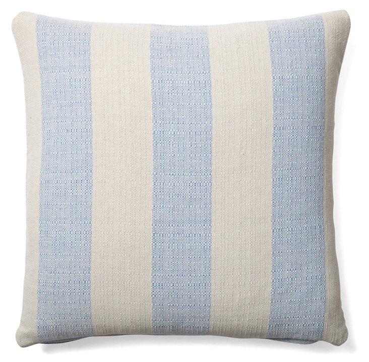 Wide Stripe 20x20 Cotton Pillow, Blue