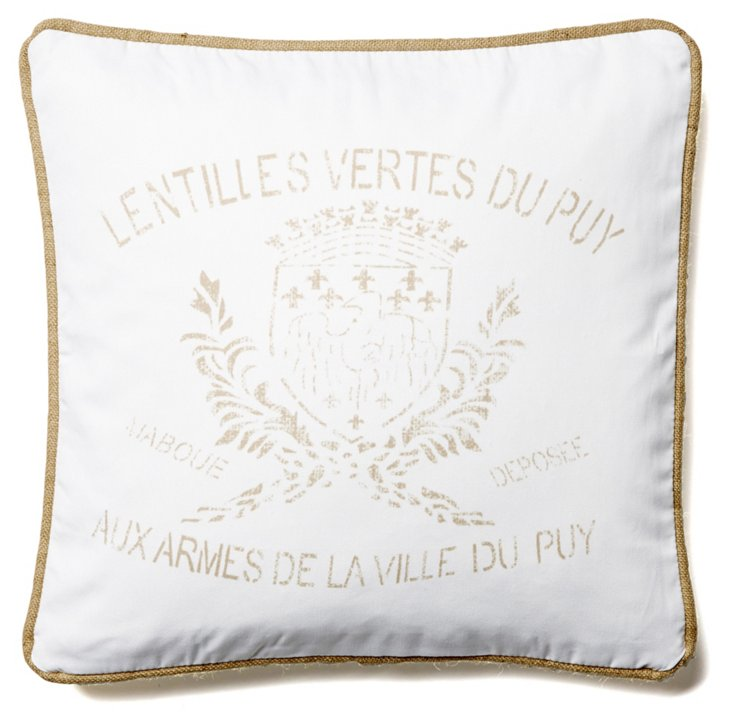 Crest 20x20 Linen Pillow, White
