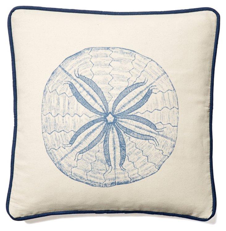 Sand Dollar 20x20 Linen Pillow, Blue