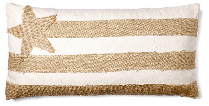 Flag 10x20 Burlap Pillow, Natural