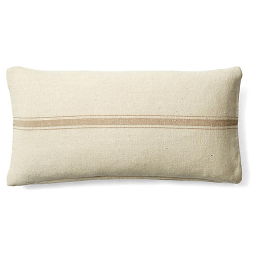 Striped 10x20 Cotton Pillow, Cream