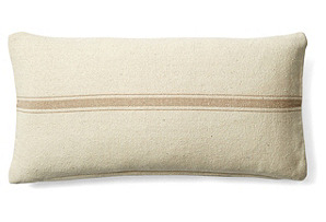 Stripe 10x20 Cotton Pillow, Cream