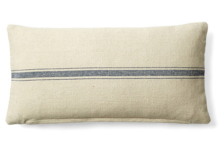 Striped 10x20 Cotton Pillow, Cream/Blue