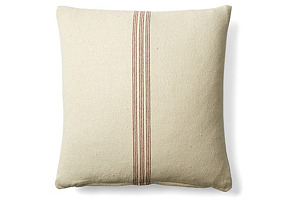 Stripe 20x20 Cotton Pillow, Red/Cream
