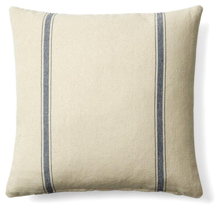 Stripe 20x20 Cotton Pillow, Cream/Blue