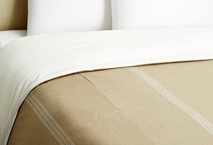 Burlap Stripe Duvet, White