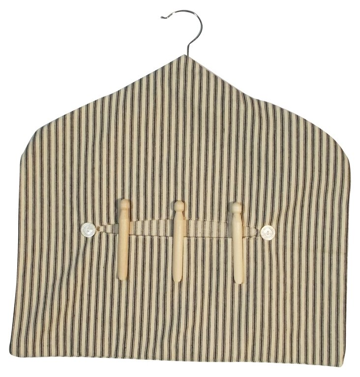 Clothes Pin Hanger, Black Ticking Stripe