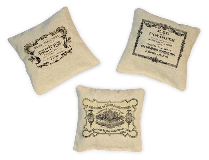 S/3 Sachets w/ Vintage Labels