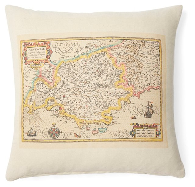 Cannes Map 20x20 Pillow, Natural