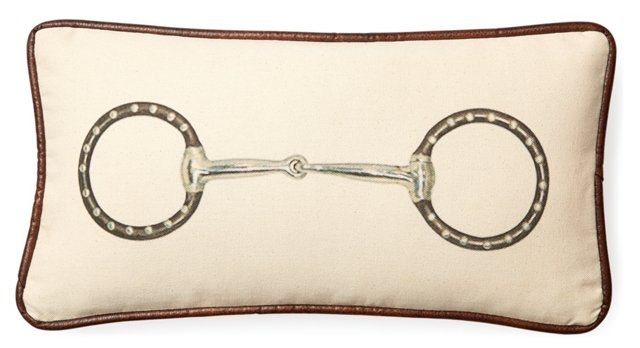 Horse Bit 10x20 Cotton Pillow, Cream