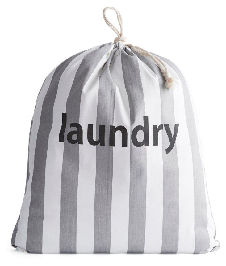 """Laundry"" Drawstring Bag, Gray Stripe"