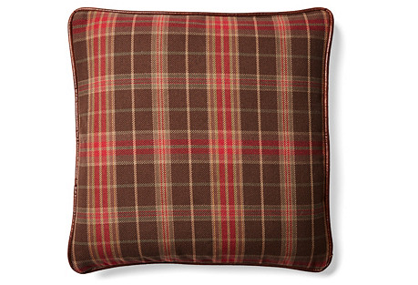 Plaid 20x20 Cotton-Blend Pillow, Red