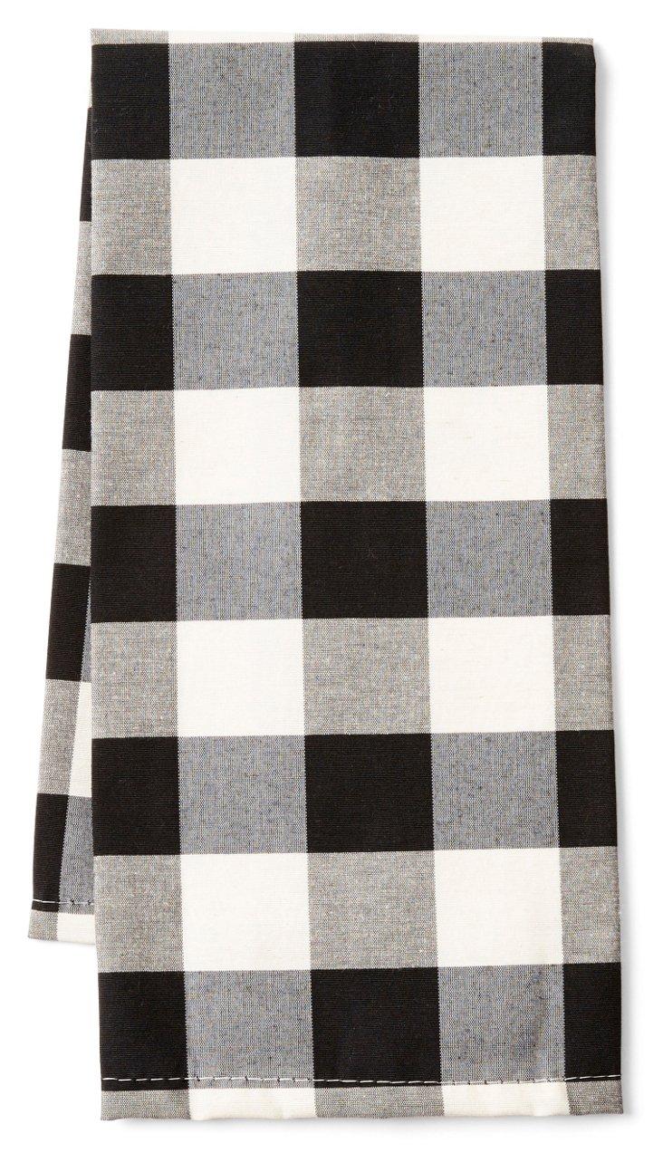 S/2 Buffalo Check Tea Towels, Black