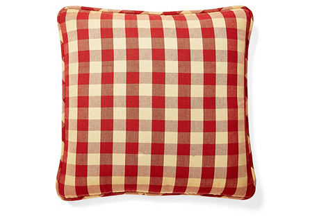 Buffalo 20x20 Cotton Pillow, Red/Gold