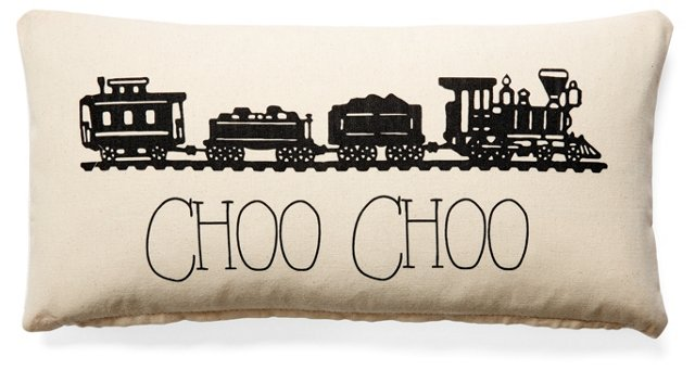 Train 10x20 Cotton Pillow, Natural