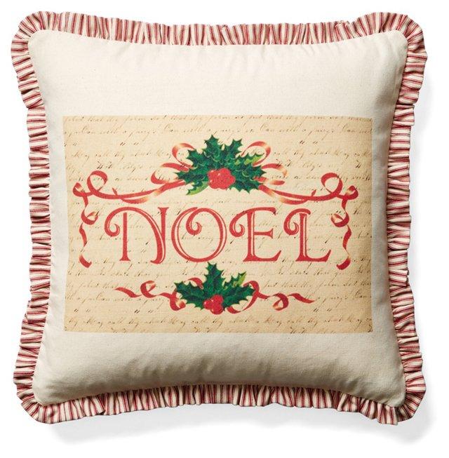 Noel 20x20 Cotton Pillow, Beige