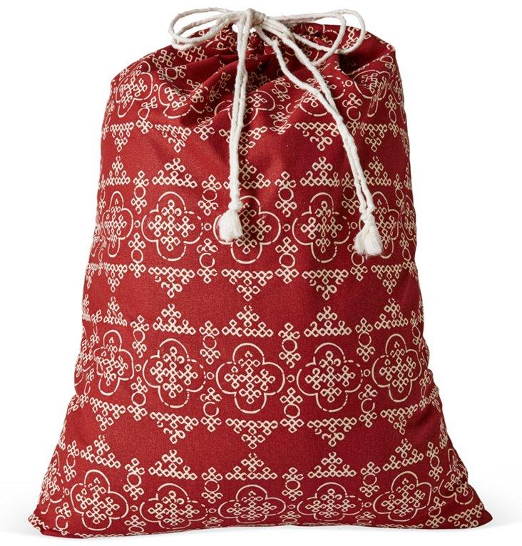 Drawstring Laundry Bag, Red Bandana