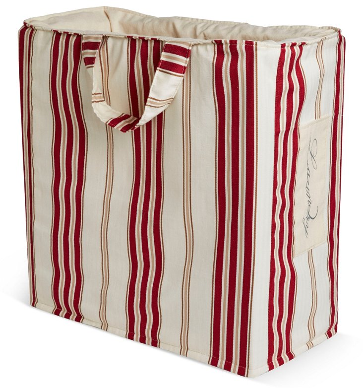 """Laundry"" Tote, Red Stripe"