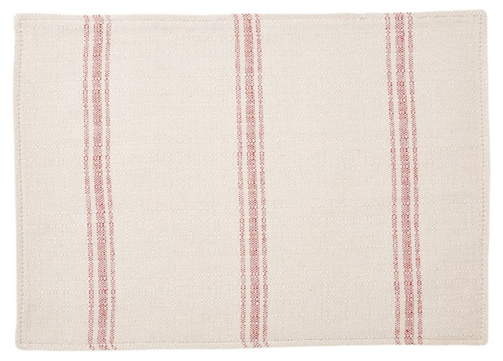 S/4 Striped Place Mats, Red