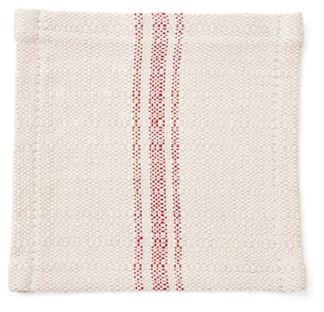 S/6 Striped Cocktail Napkins, Red