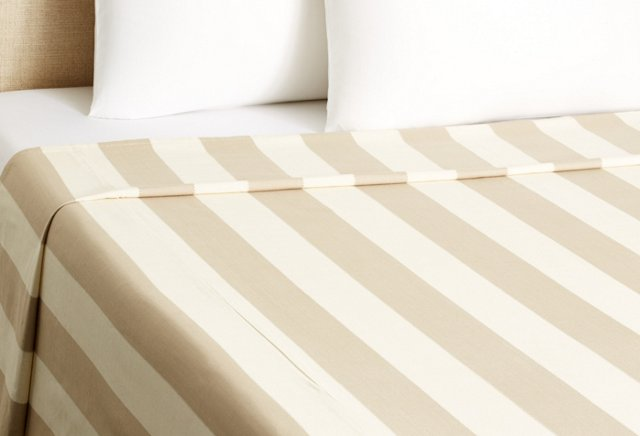 Wide Stripe Coverlet, Natural