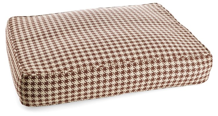 Houndstooth Pet Bed, Brown/White
