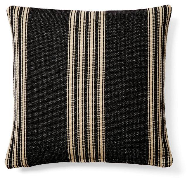 Striped 20x20 Cotton Pillow, Black