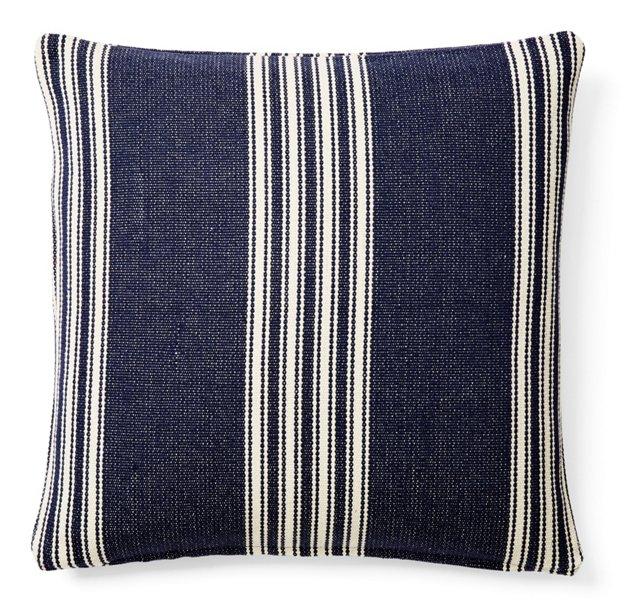 Striped 20x20 Cotton Pillow, Navy