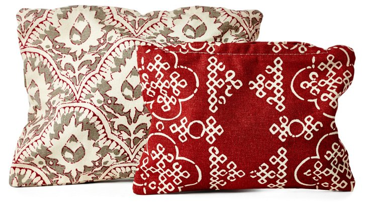 S/2 Arabesque Cosmetic Cases, Red/Gray